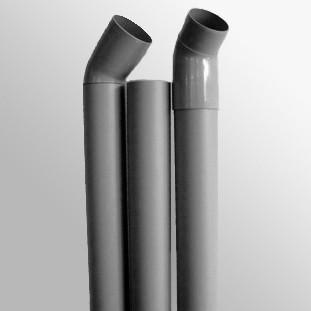 Lüftungsrohr-Set DN75 kieselgrau (3x1m, 2x 45 Grad-Bögen)